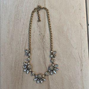 J crew crystal antique gold statement necklace